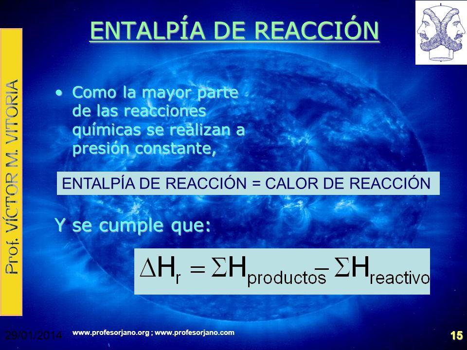 ENTALPÍA DE REACCIÓN Y se cumple que: