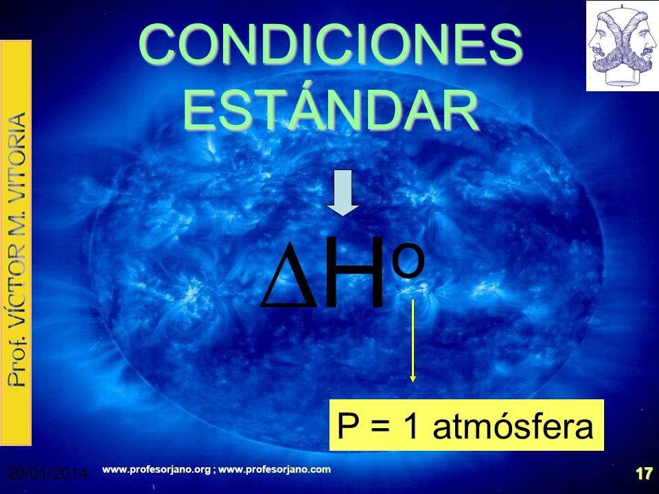 CONDICIONES ESTÁNDAR DHo P = 1 atmósfera 24/03/2017