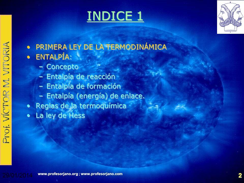 INDICE 1 PRIMERA LEY DE LA TERMODINÁMICA ENTALPÍA: Concepto