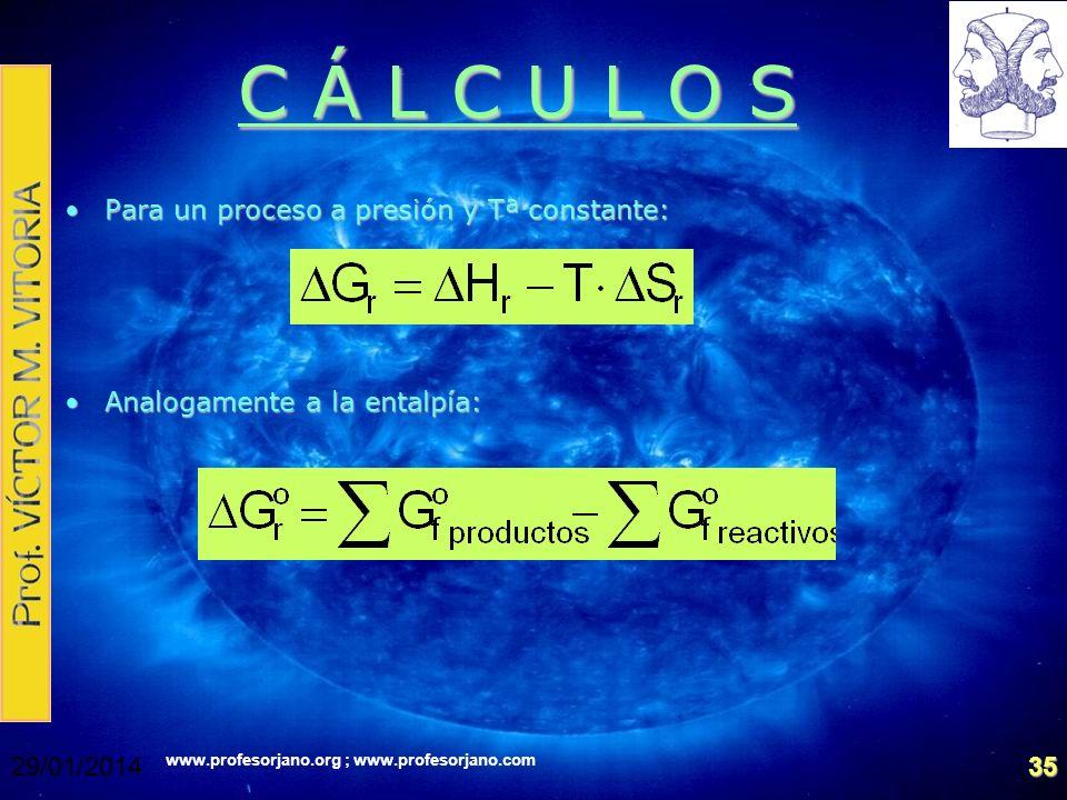 C Á L C U L O S Para un proceso a presión y Tª constante: