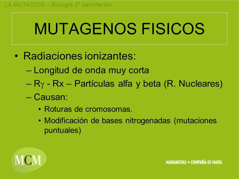 MUTAGENOS FISICOS Radiaciones ionizantes: Longitud de onda muy corta