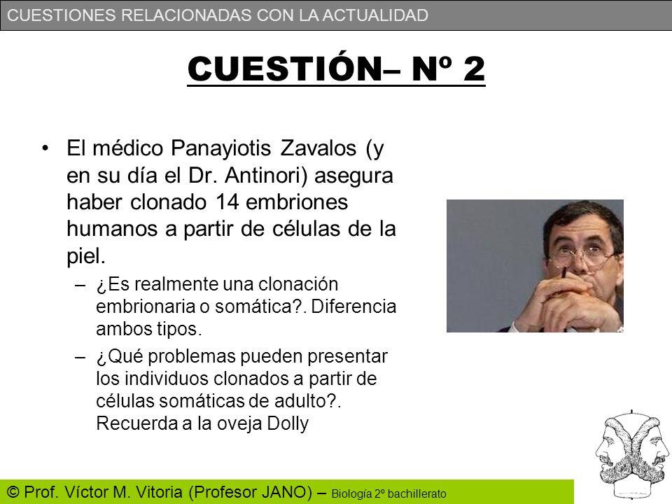 CUESTIÓN– Nº 2 El médico Panayiotis Zavalos (y en su día el Dr. Antinori) asegura haber clonado 14 embriones humanos a partir de células de la piel.