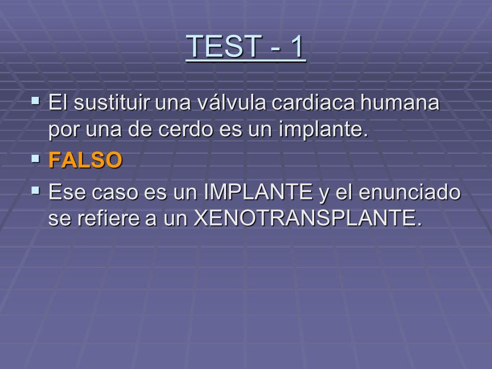 TEST - 1 El sustituir una válvula cardiaca humana por una de cerdo es un implante. FALSO.