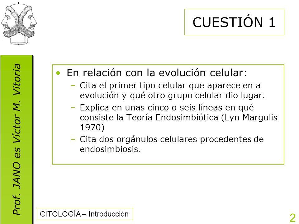 CUESTIÓN 1 En relación con la evolución celular: