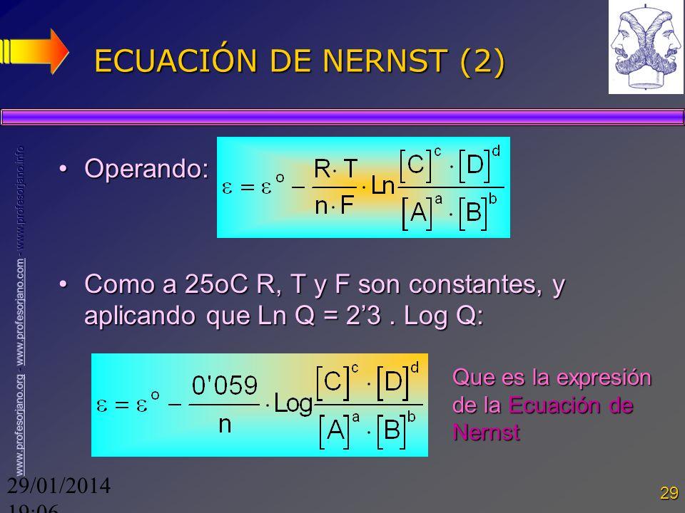 ECUACIÓN DE NERNST (2) Operando: