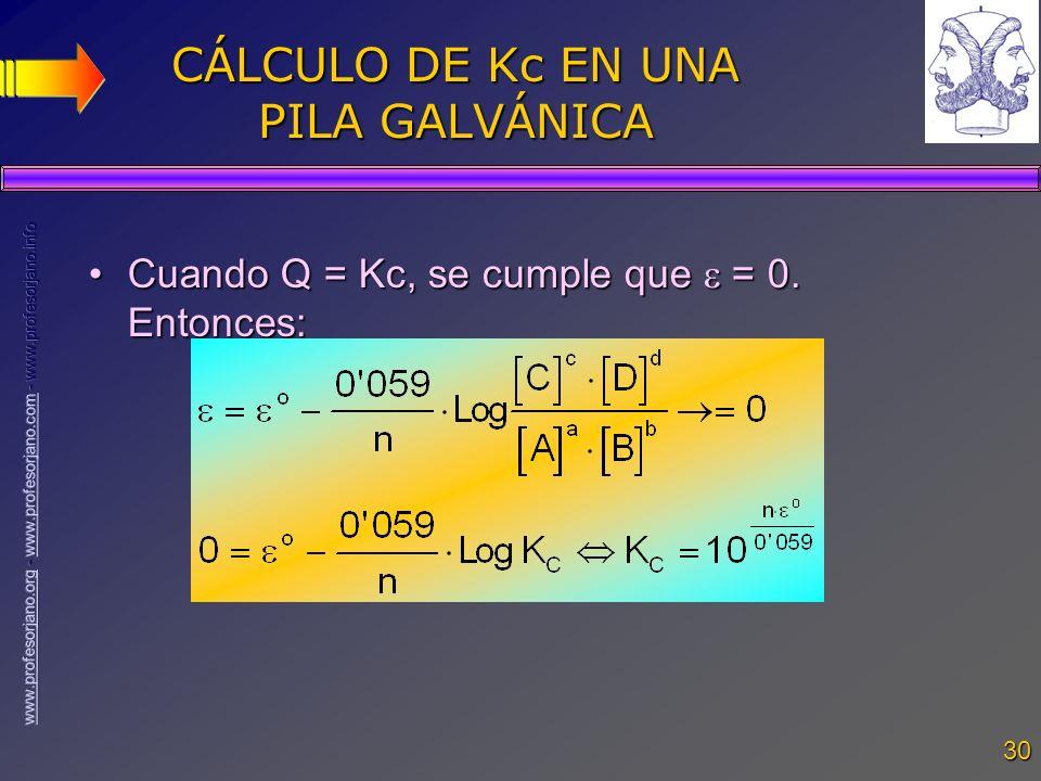 CÁLCULO DE Kc EN UNA PILA GALVÁNICA