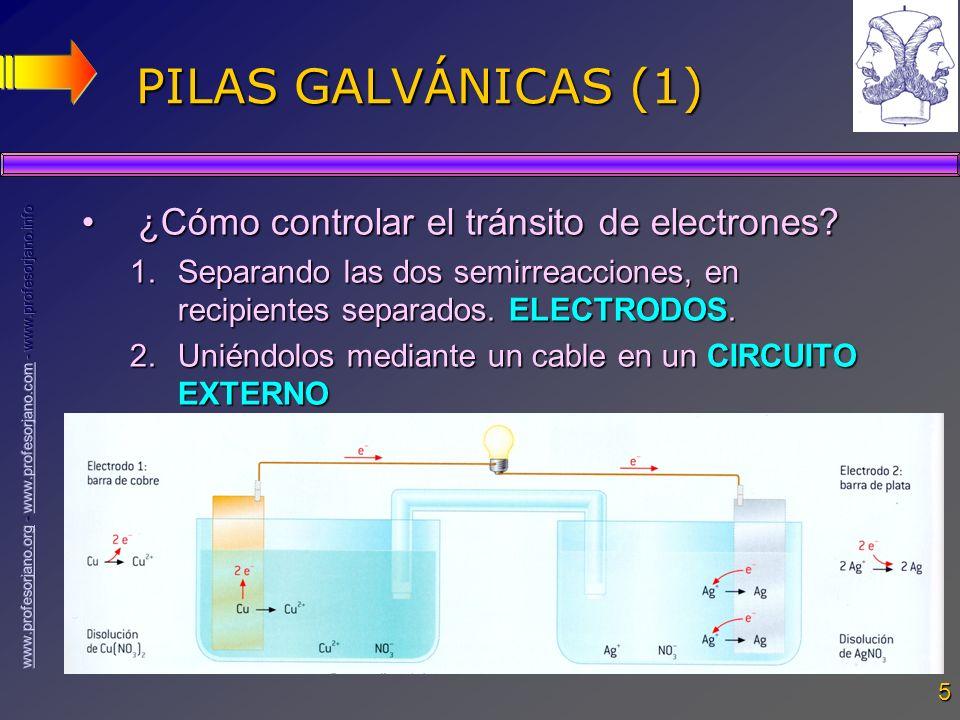 PILAS GALVÁNICAS (1) ¿Cómo controlar el tránsito de electrones