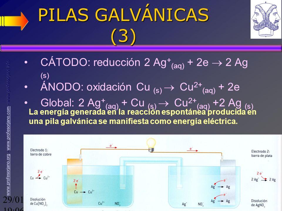 PILAS GALVÁNICAS (3) CÁTODO: reducción 2 Ag+(aq) + 2e  2 Ag (s)