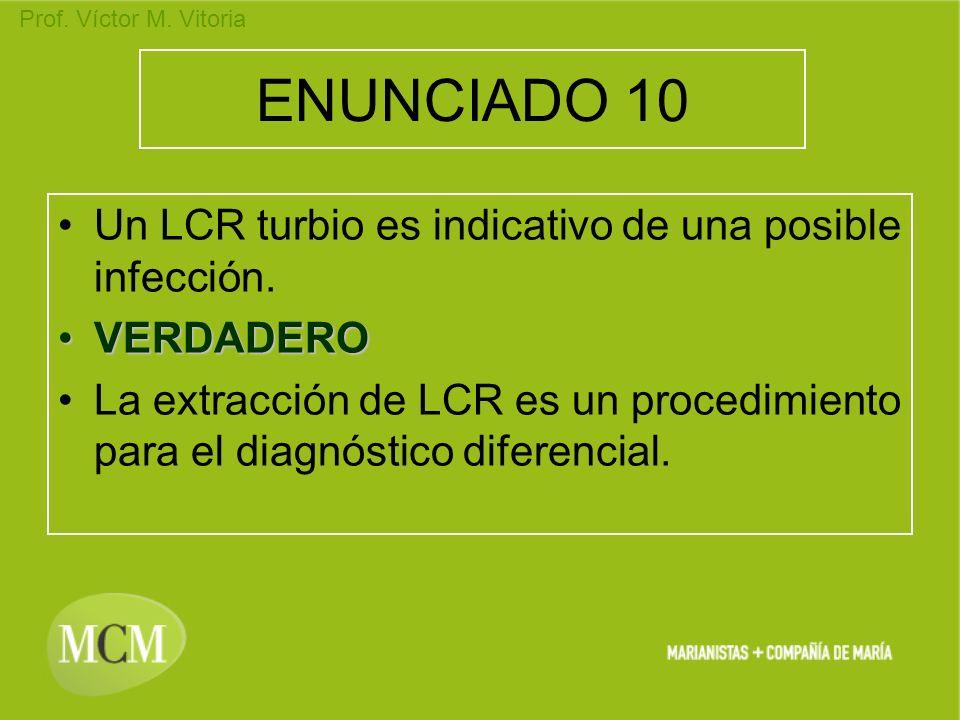 ENUNCIADO 10 Un LCR turbio es indicativo de una posible infección.