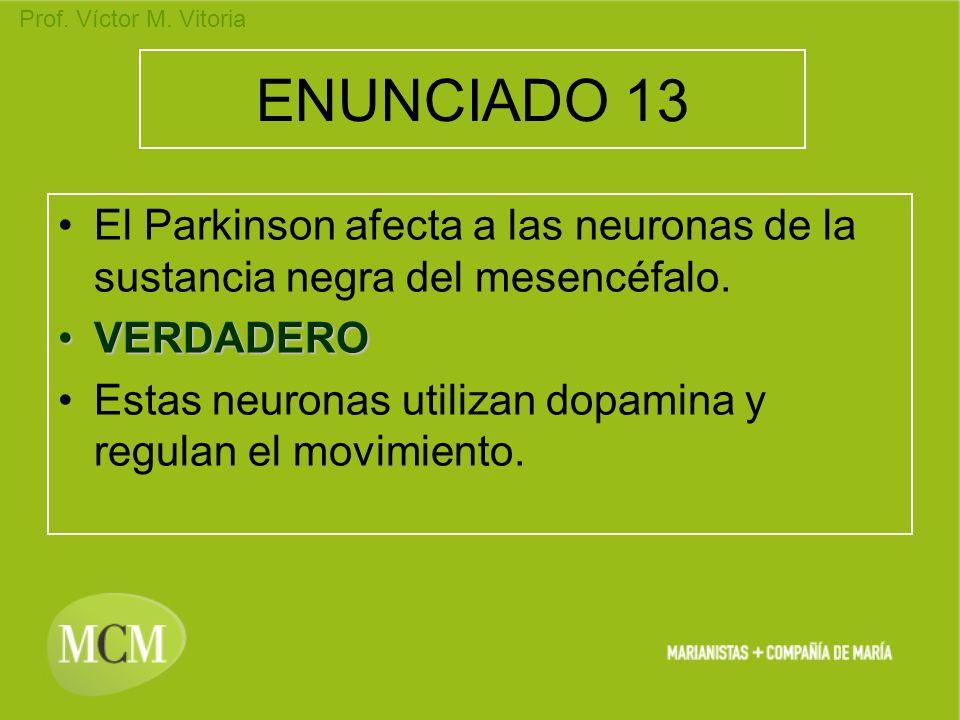 ENUNCIADO 13 El Parkinson afecta a las neuronas de la sustancia negra del mesencéfalo. VERDADERO.