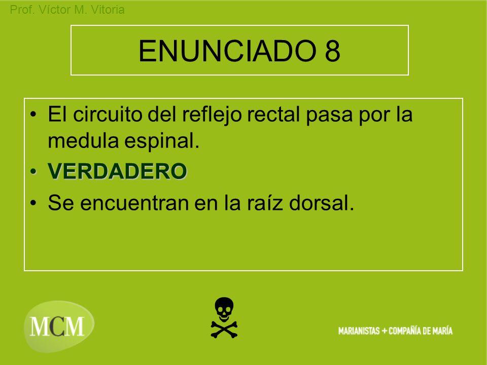 ENUNCIADO 8 El circuito del reflejo rectal pasa por la medula espinal. VERDADERO. Se encuentran en la raíz dorsal.