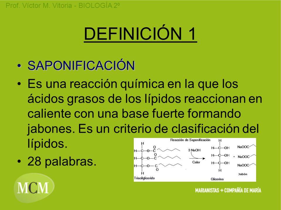 DEFINICIÓN 1 SAPONIFICACIÓN