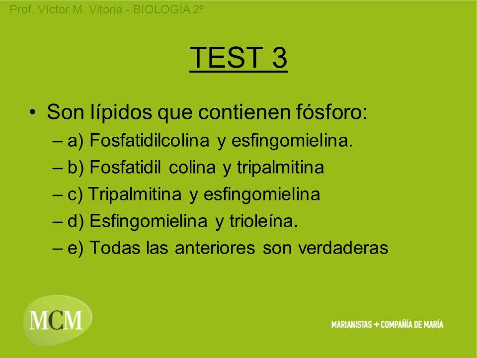 TEST 3 Son lípidos que contienen fósforo:
