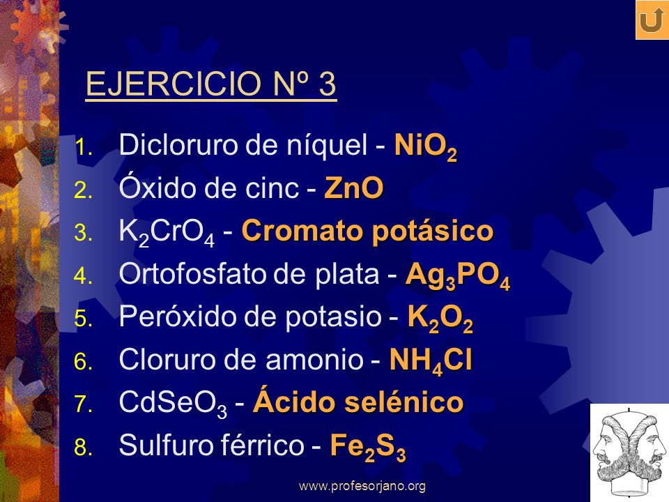 EJERCICIO Nº 3 Dicloruro de níquel - NiO2 Óxido de cinc - ZnO