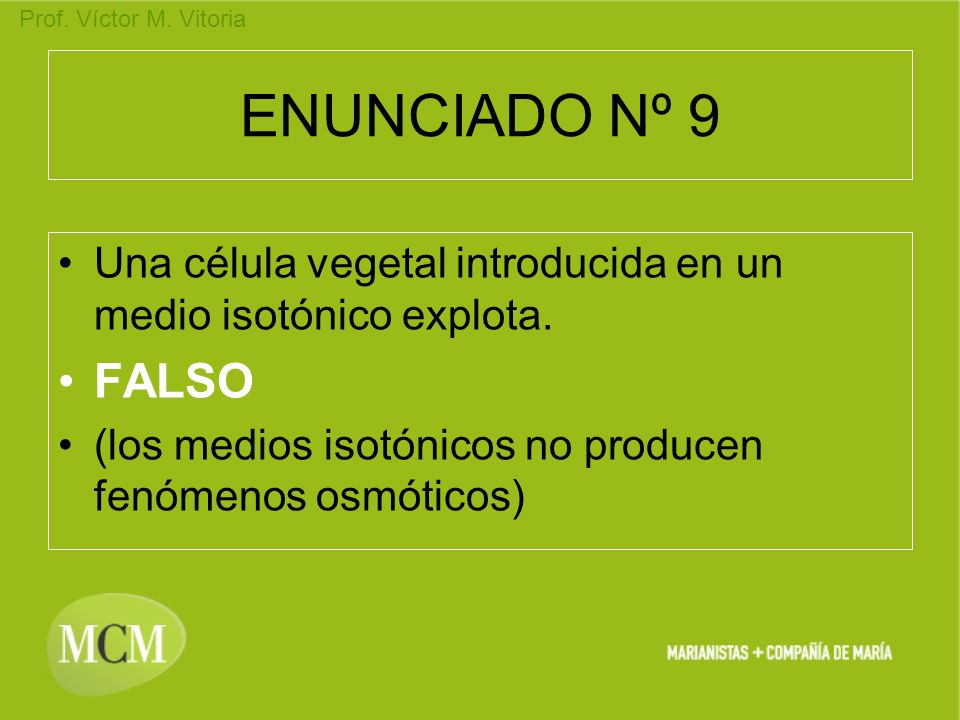 ENUNCIADO Nº 9Una célula vegetal introducida en un medio isotónico explota.