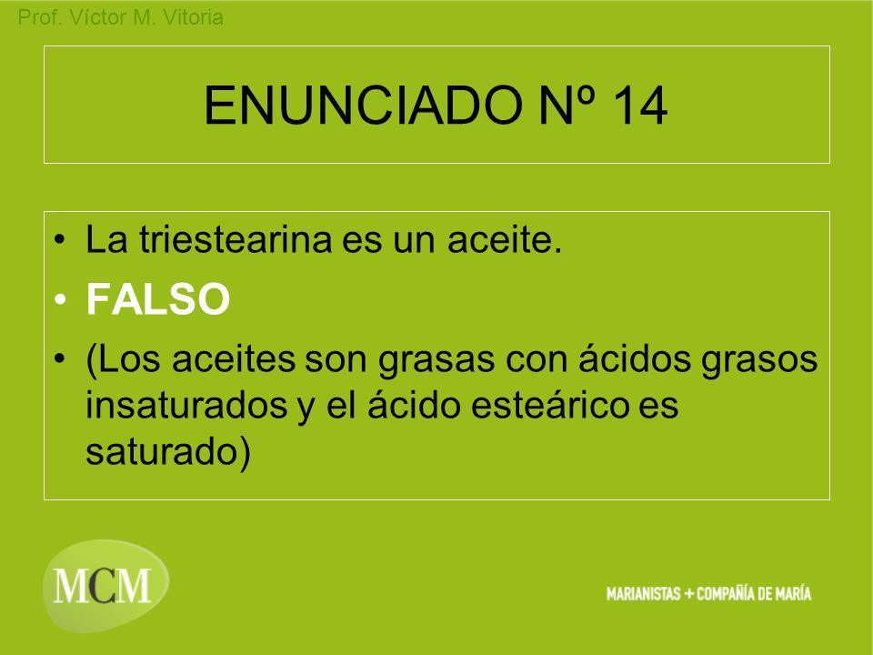 ENUNCIADO Nº 14 FALSO La triestearina es un aceite.