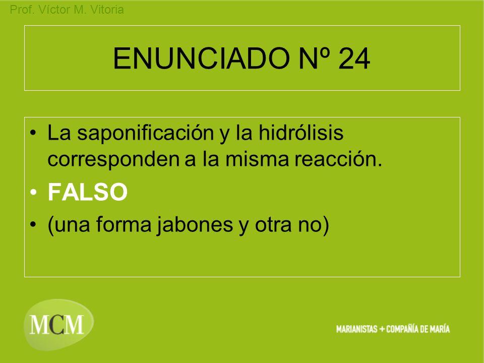 ENUNCIADO Nº 24 La saponificación y la hidrólisis corresponden a la misma reacción.