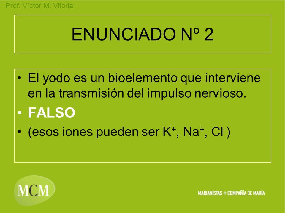 ENUNCIADO Nº 2 El yodo es un bioelemento que interviene en la transmisión del impulso nervioso. FALSO.