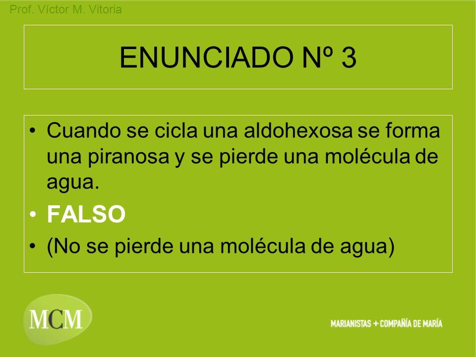 ENUNCIADO Nº 3 Cuando se cicla una aldohexosa se forma una piranosa y se pierde una molécula de agua.