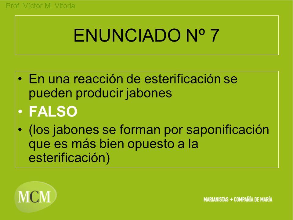 ENUNCIADO Nº 7 En una reacción de esterificación se pueden producir jabones. FALSO.