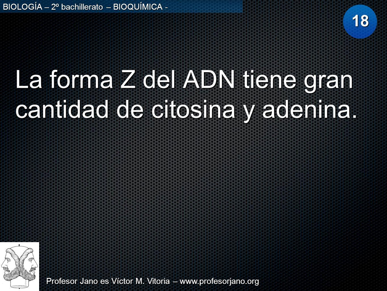 La forma Z del ADN tiene gran cantidad de citosina y adenina.