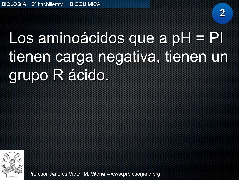 2 Los aminoácidos que a pH = PI tienen carga negativa, tienen un grupo R ácido.