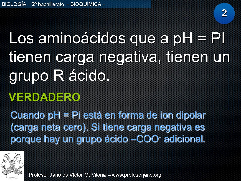 2 Los aminoácidos que a pH = PI tienen carga negativa, tienen un grupo R ácido. VERDADERO.