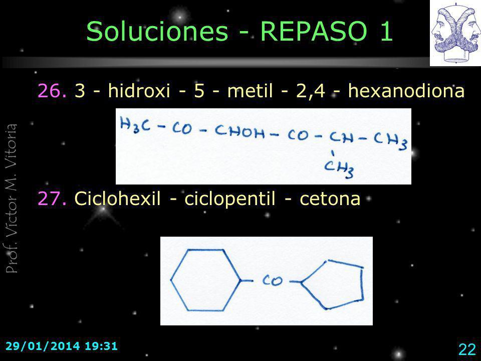 Soluciones - REPASO 1 26. 3 - hidroxi - 5 - metil - 2,4 - hexanodiona