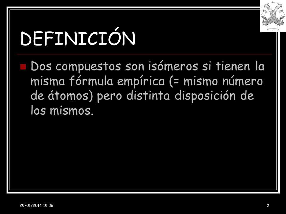 DEFINICIÓNDos compuestos son isómeros si tienen la misma fórmula empírica (= mismo número de átomos) pero distinta disposición de los mismos.