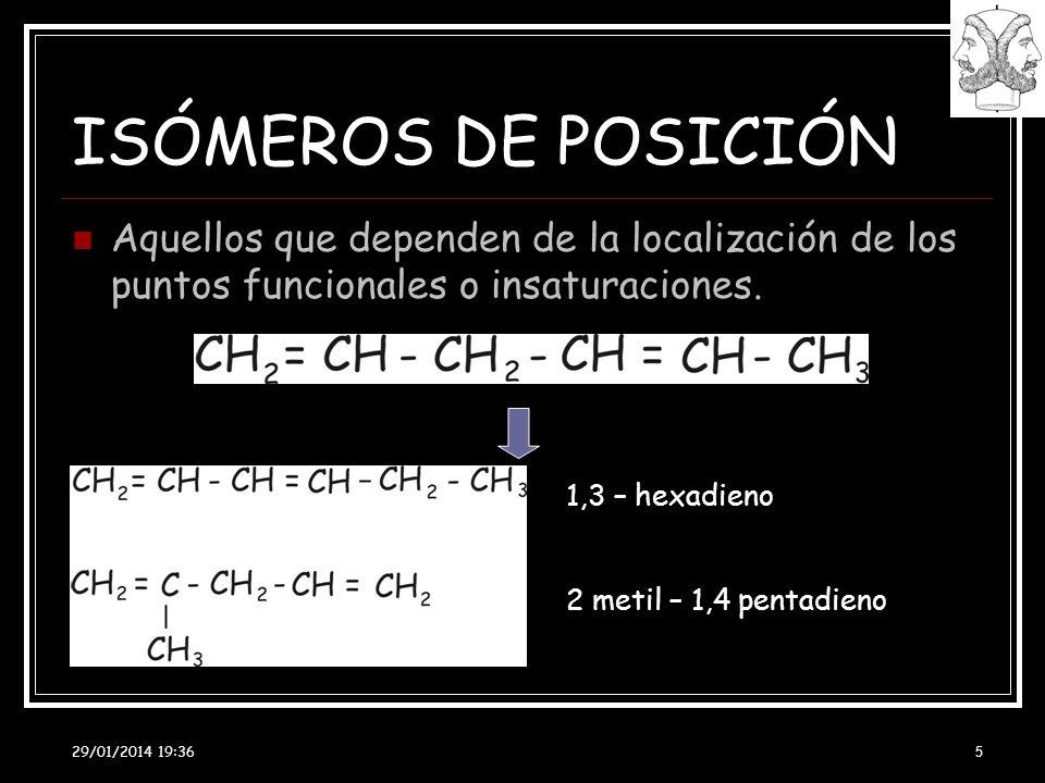 ISÓMEROS DE POSICIÓN Aquellos que dependen de la localización de los puntos funcionales o insaturaciones.