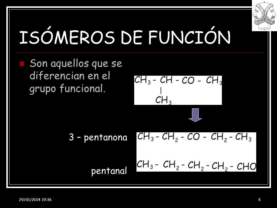 ISÓMEROS DE FUNCIÓN Son aquellos que se diferencian en el grupo funcional. 3 – pentanona. pentanal.