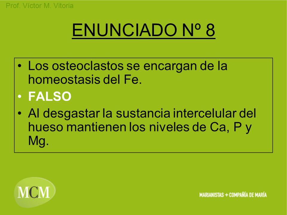 ENUNCIADO Nº 8 Los osteoclastos se encargan de la homeostasis del Fe.
