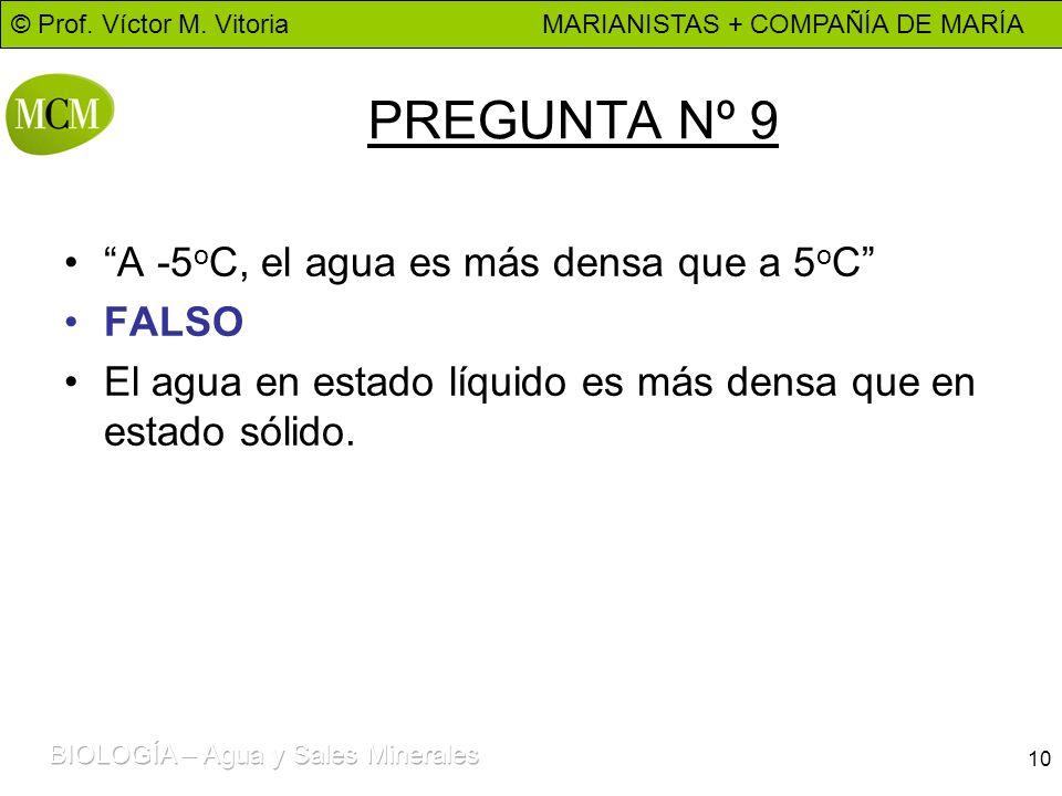 PREGUNTA Nº 9 A -5oC, el agua es más densa que a 5oC FALSO