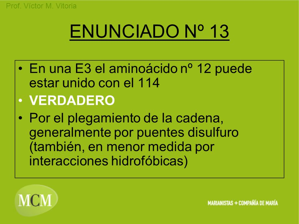 ENUNCIADO Nº 13 En una E3 el aminoácido nº 12 puede estar unido con el 114. VERDADERO.