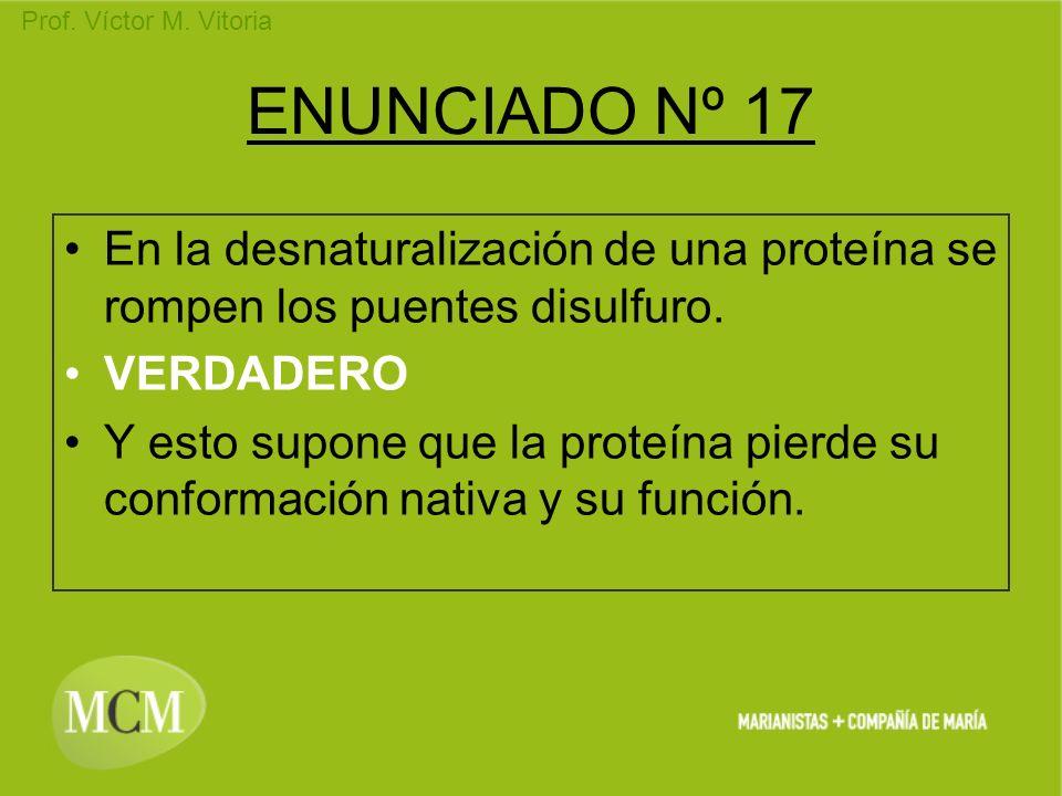 ENUNCIADO Nº 17 En la desnaturalización de una proteína se rompen los puentes disulfuro. VERDADERO.