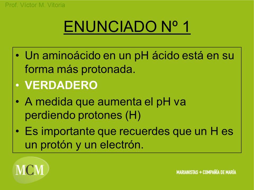 ENUNCIADO Nº 1 Un aminoácido en un pH ácido está en su forma más protonada. VERDADERO. A medida que aumenta el pH va perdiendo protones (H)