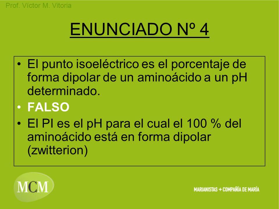 ENUNCIADO Nº 4 El punto isoeléctrico es el porcentaje de forma dipolar de un aminoácido a un pH determinado.
