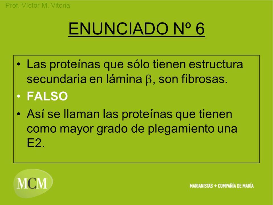ENUNCIADO Nº 6 Las proteínas que sólo tienen estructura secundaria en lámina b, son fibrosas. FALSO.