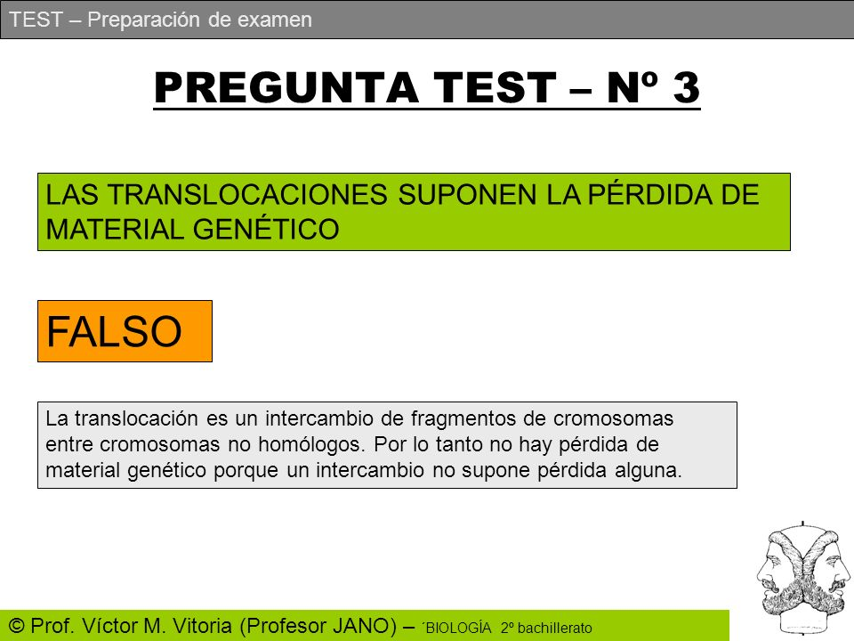 PREGUNTA TEST – Nº 3 FALSO