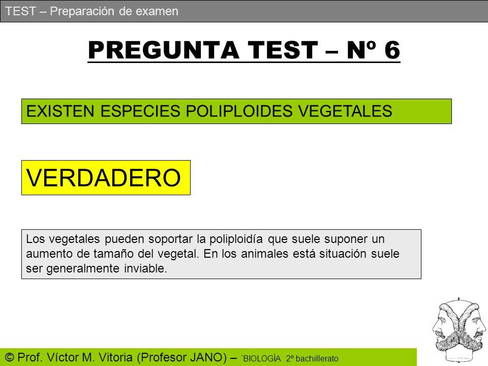 PREGUNTA TEST – Nº 6 VERDADERO EXISTEN ESPECIES POLIPLOIDES VEGETALES