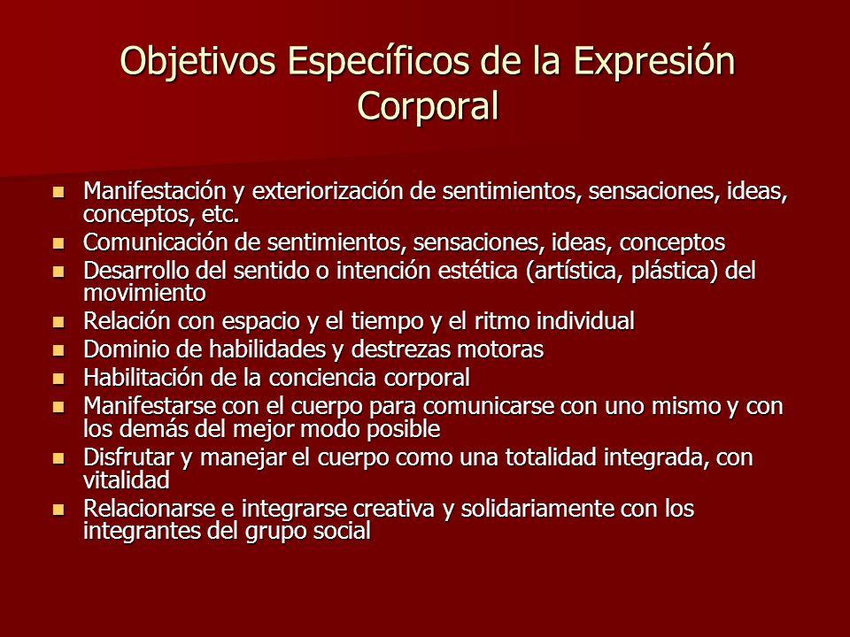 Objetivos Específicos de la Expresión Corporal