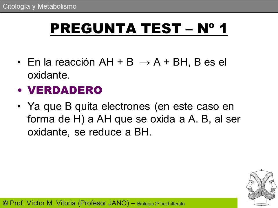 PREGUNTA TEST – Nº 1 En la reacción AH + B → A + BH, B es el oxidante.