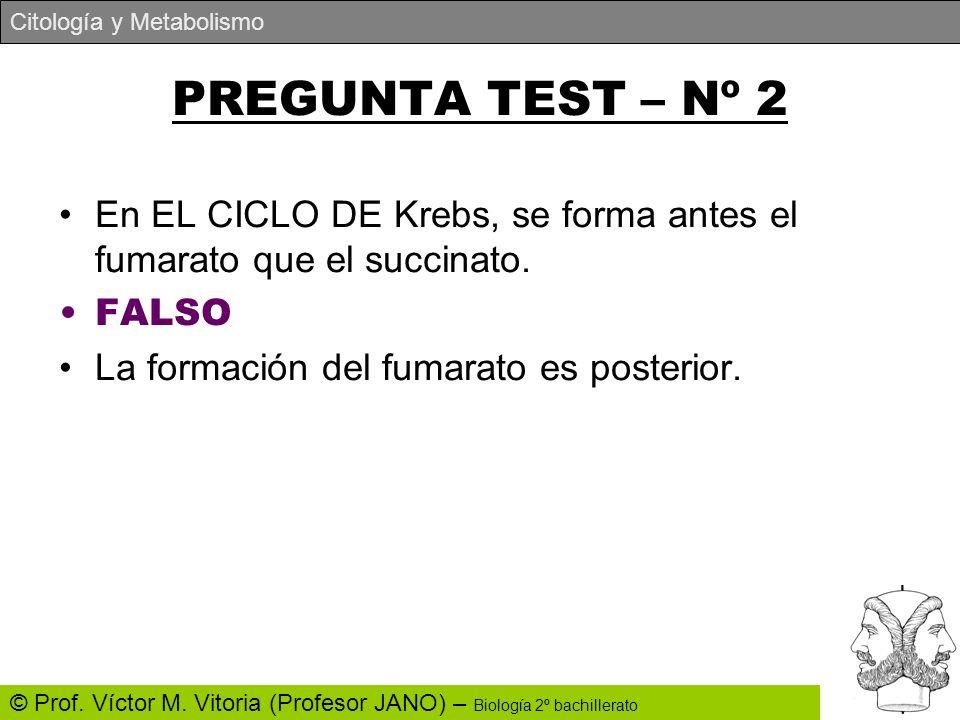 PREGUNTA TEST – Nº 2 En EL CICLO DE Krebs, se forma antes el fumarato que el succinato.