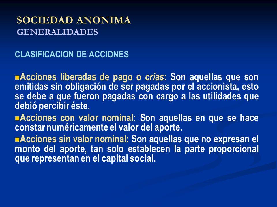 SOCIEDAD ANONIMA GENERALIDADES