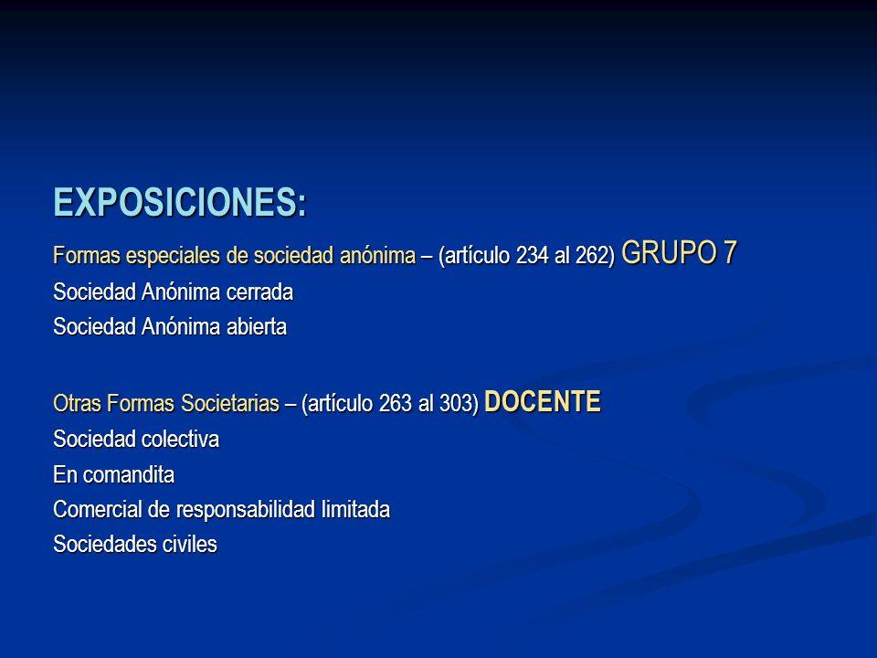EXPOSICIONES:Formas especiales de sociedad anónima – (artículo 234 al 262) GRUPO 7. Sociedad Anónima cerrada.