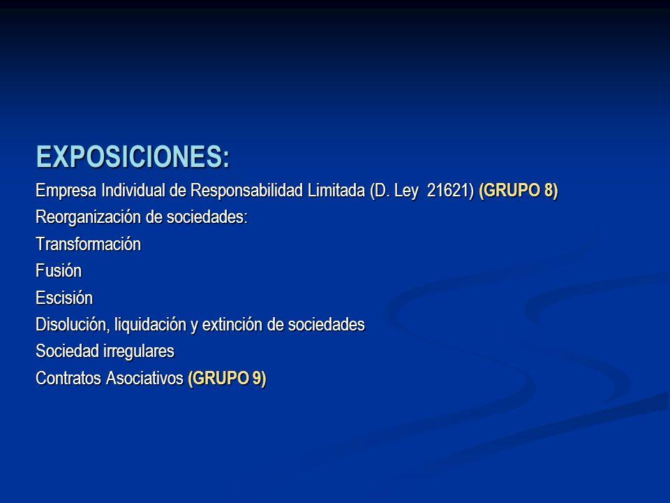 EXPOSICIONES: Empresa Individual de Responsabilidad Limitada (D. Ley 21621) (GRUPO 8) Reorganización de sociedades: