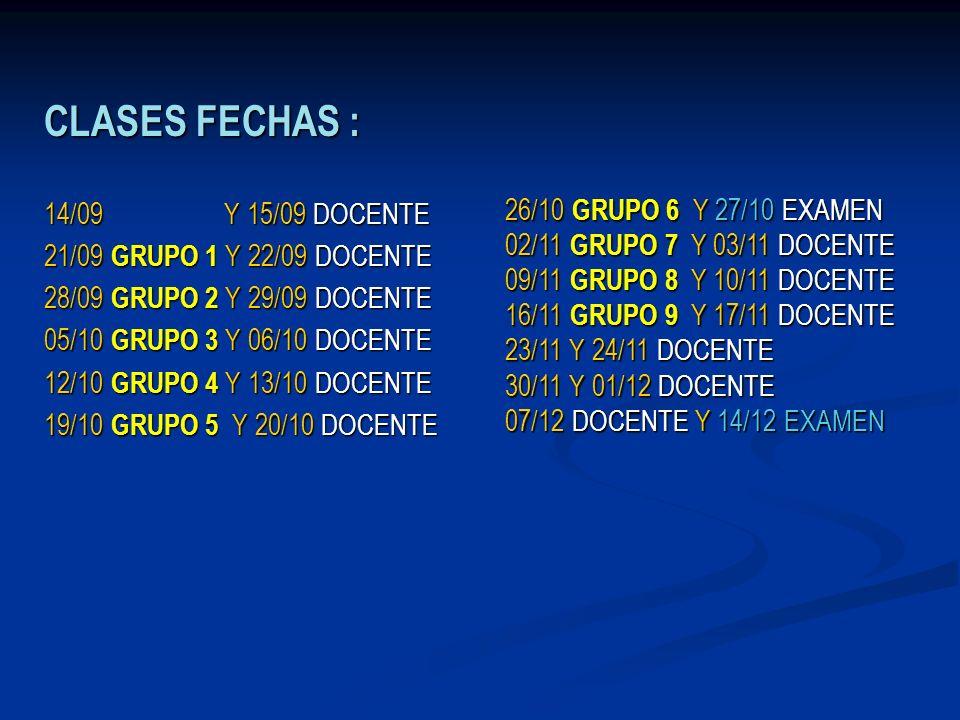 CLASES FECHAS : 14/09 Y 15/09 DOCENTE 21/09 GRUPO 1 Y 22/09 DOCENTE