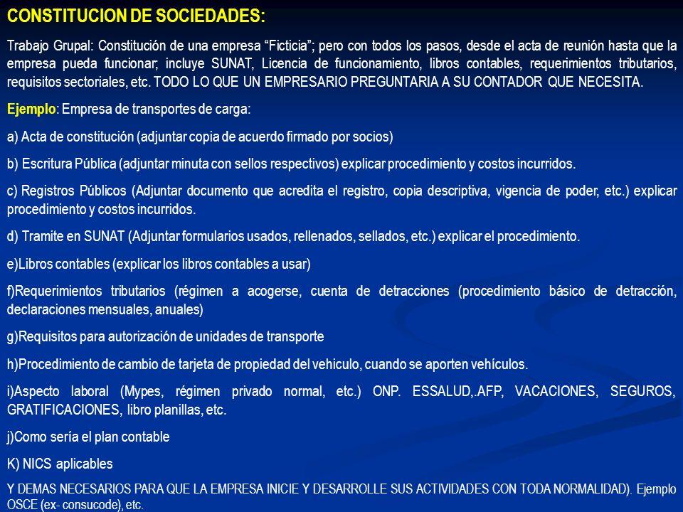 CONSTITUCION DE SOCIEDADES: