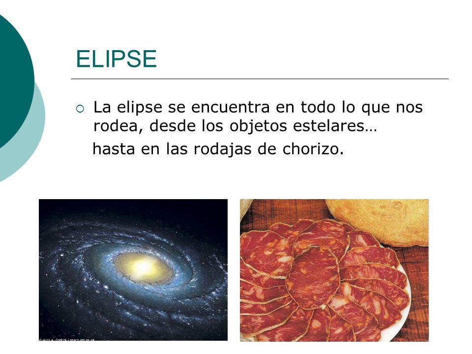 ELIPSE La elipse se encuentra en todo lo que nos rodea, desde los objetos estelares… hasta en las rodajas de chorizo.