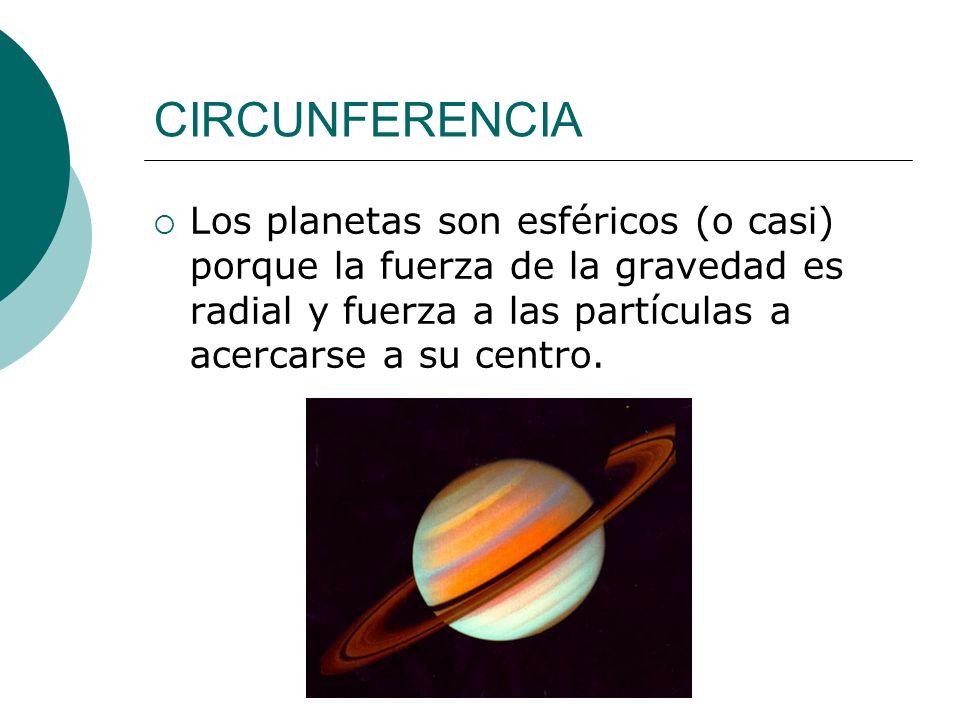 CIRCUNFERENCIALos planetas son esféricos (o casi) porque la fuerza de la gravedad es radial y fuerza a las partículas a acercarse a su centro.